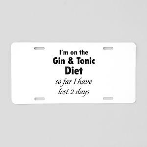 Gin & Tonic Diet Aluminum License Plate