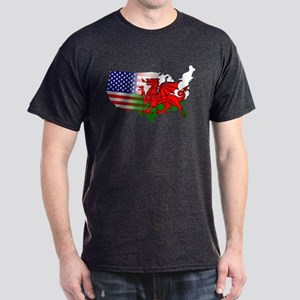 American Welsh Map Dark T-Shirt
