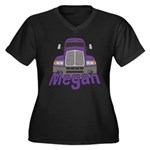 Trucker Megan Women's Plus Size V-Neck Dark T-Shir