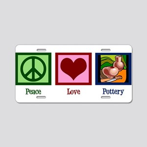 Peace Love Pottery Aluminum License Plate