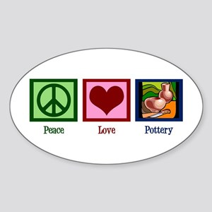 Peace Love Pottery Sticker (Oval)