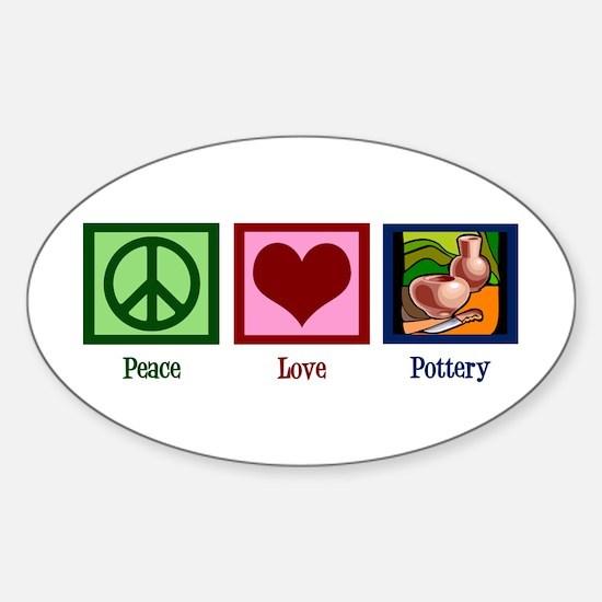 Peace Love Pottery Sticker (Oval)