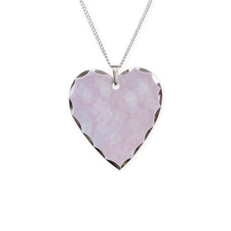 Pink Bokeh Necklace Heart Charm