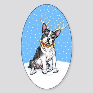 Boston Terrier Reindeer Oval Sticker