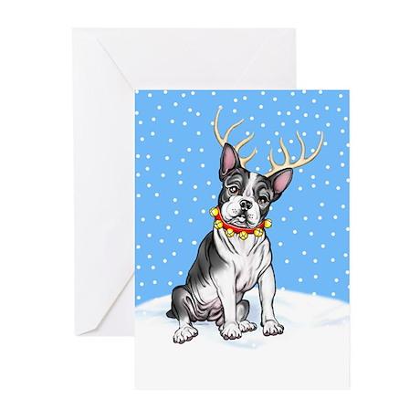 Boston Terrier Reindeer Greeting Cards (Pk of 10)