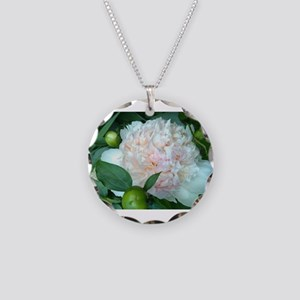 Peonies Necklace Circle Charm