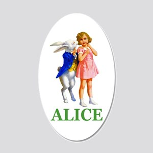 ALICE & THE WHITE RABBIT 20x12 Oval Wall Decal