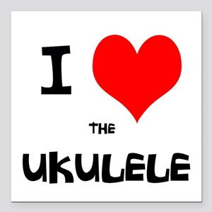 "I HEART the UKULELE Square Car Magnet 3"" x 3"""