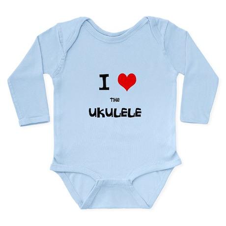 I HEART the UKULELE Long Sleeve Infant Bodysuit