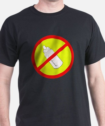 not bottle fed circle slash Black T-Shirt