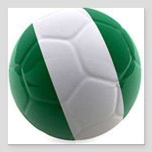 "Nigeria World Cup Ball Square Car Magnet 3"" x 3"""
