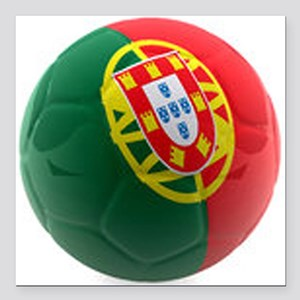 """Portugal World Cup Ball Square Car Magnet 3"""" x 3"""""""