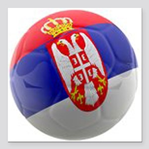 "Serbia World Cup Ball Square Car Magnet 3"" x 3"""