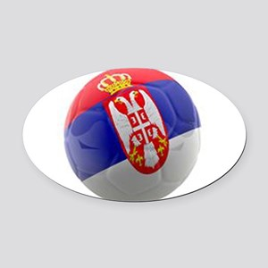 Serbia World Cup Ball Oval Car Magnet