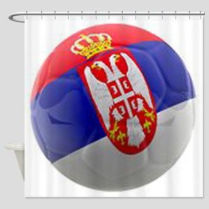 Serbia World Cup Ball Shower Curtain