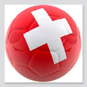 "Switzerland World Cup Ball Square Car Magnet 3"" x"