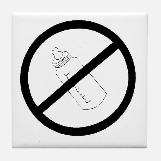 not bottle fed circle slash Tile Coaster
