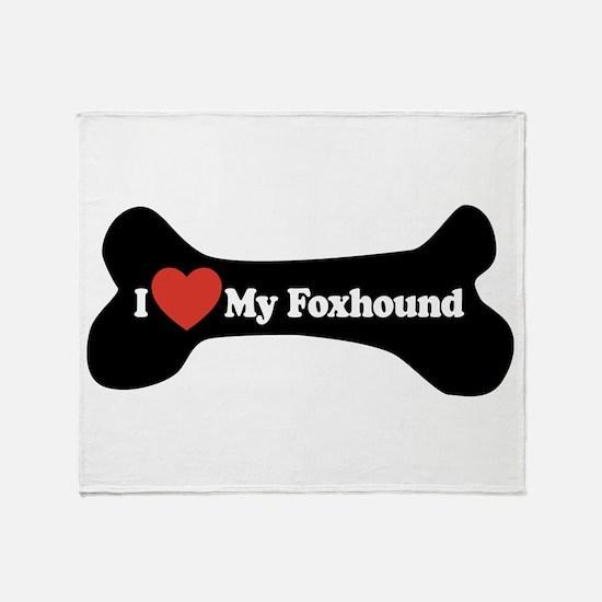 I Love My Foxhound - Dog Bone Throw Blanket