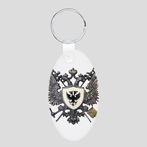 Doucette Family Crest Aluminum Oval Keychain