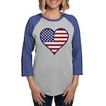 American Flag Heart Womens Baseball Tee