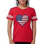 American Flag Heart Womens Football Shirt