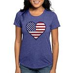 American Flag Heart Womens Tri-blend T-Shirt
