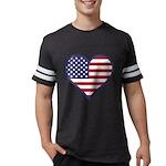 American Flag Heart Mens Football Shirt