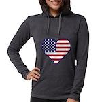 American Flag Heart Womens Hooded Shirt