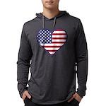 American Flag Heart Mens Hooded Shirt