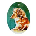 Longhaired Dachshund Oval Ornament