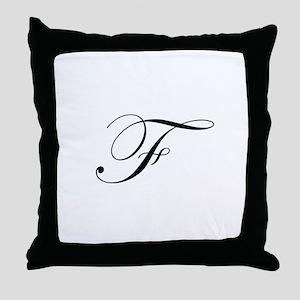 Edwardian Script-F Throw Pillow