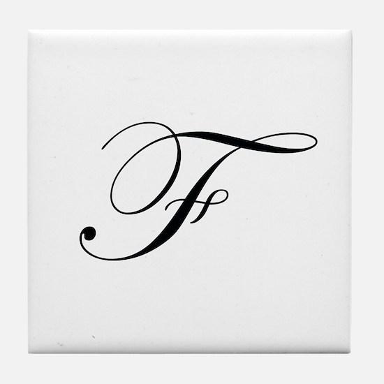 Edwardian Script-F.png Tile Coaster