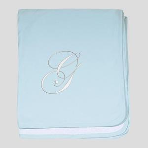 Edwardian Script-G White baby blanket