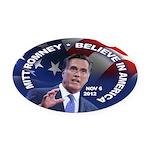 Romney Believe 2012 Oval Car Magnet