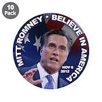 "Romney Believe 2012 3.5"" Button (10 pack)"