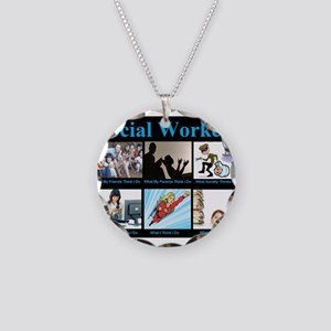 Social-Work-Funny Necklace Circle Charm