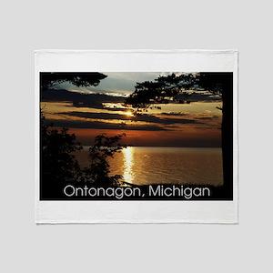 Ontonagon, Michigan Sunset Throw Blanket