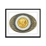 Indian gold oval 3 Framed Panel Print