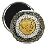 Indian gold oval 3 Magnet