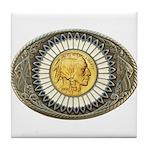Indian gold oval 3 Tile Coaster
