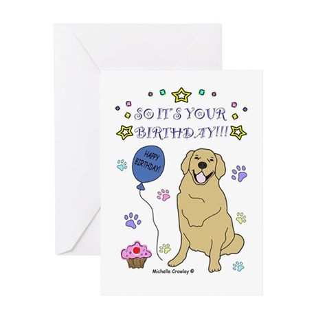 Happy Birthday From Golden Retriever Greeting Card By