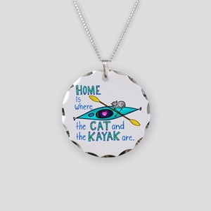 Cat and Kayak Necklace Circle Charm