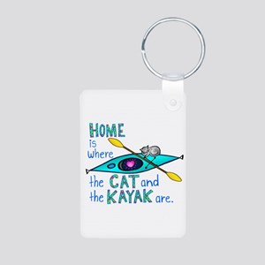 Cat and Kayak Aluminum Photo Keychain