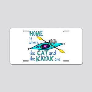 Cat and Kayak Aluminum License Plate