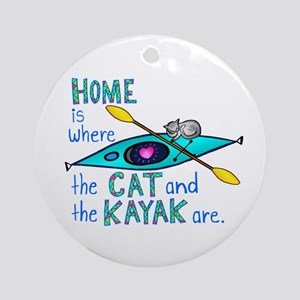 Cat and Kayak Ornament (Round)
