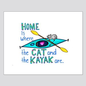Cat and Kayak Small Poster