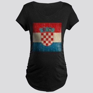 Vintage Croatia Maternity Dark T-Shirt