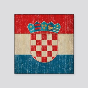 "Vintage Croatia Square Sticker 3"" x 3"""