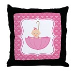 Baby Girl Umbrella Throw Pillow