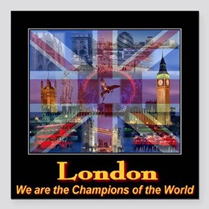 London 2012 Champions of the World Square Car Magn